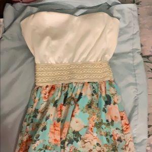 Strapless floral dress